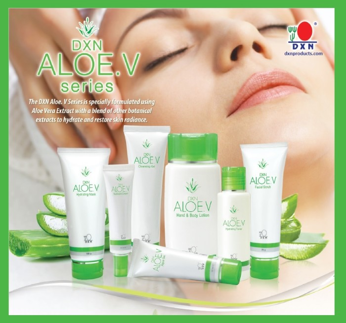 DXN Aloe V Series with Aloe barbadensis extract.