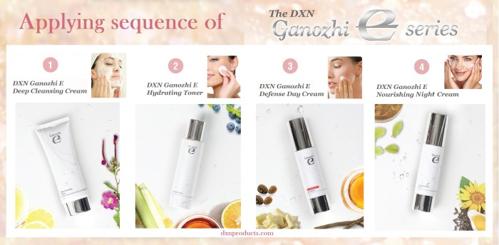 Applying sequence of DXN Ganoderma skincare products.