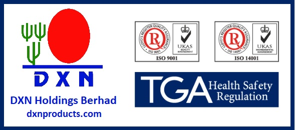 DXN has significant certificates including ISO 9001, ISO 14001 and TGA