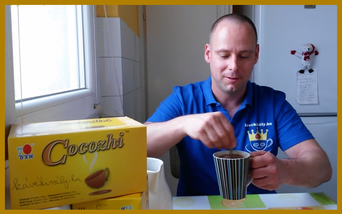 I drink DXN Ganoderma cocoa containing cane sugar at home in my kitchen
