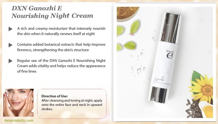 Ganoderma night cream for natural skin renewal