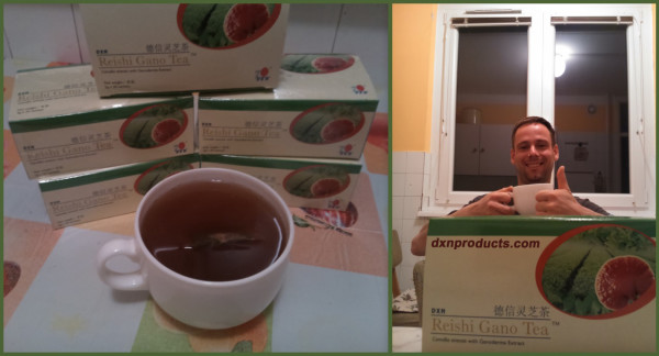 Ganoderma tea-totaller and healthy coffee lover in his kitchen.
