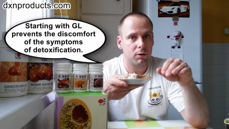 DXN Ganocelium extract presented at home on a plate by Gergely Takács, DXN products distributor