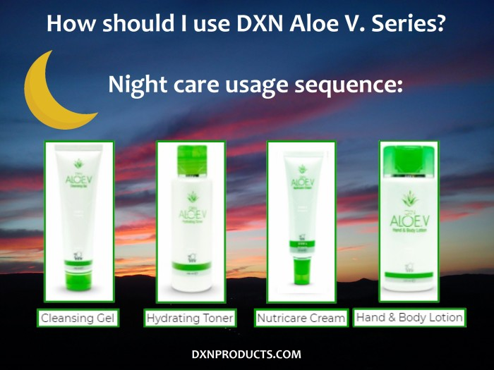 How should I use DXN Aloe Vera Cosmetics for night care?