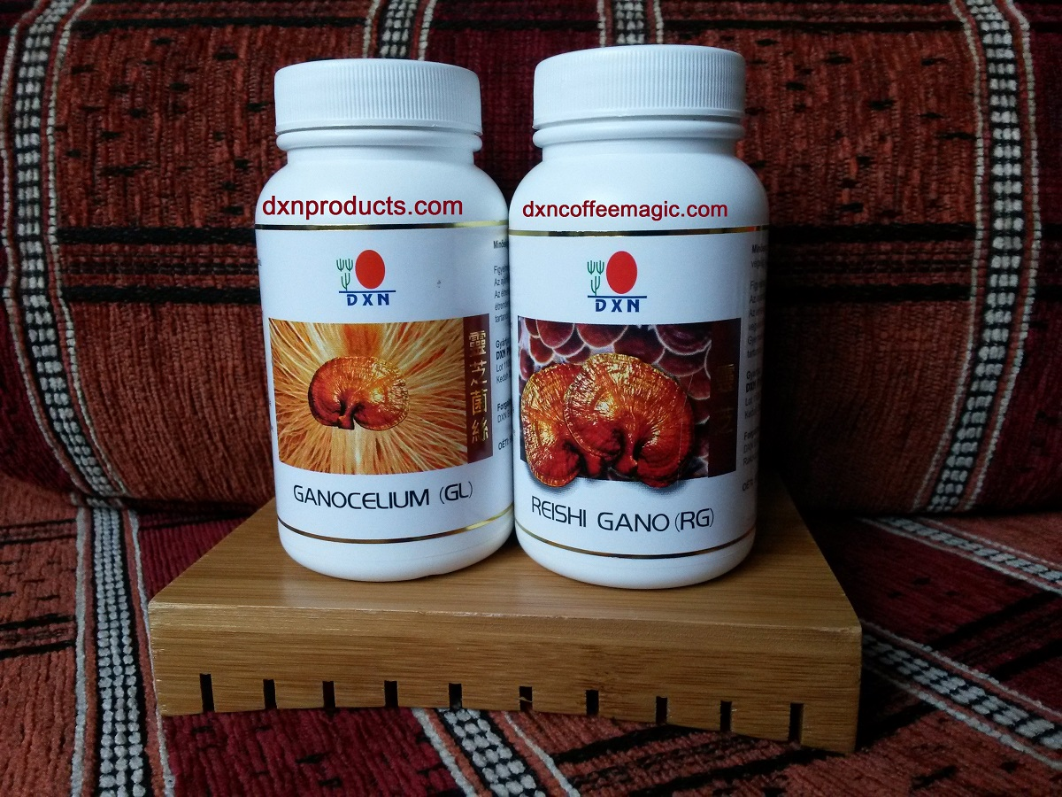 Ganotherapy uses DXN Ganoderma: Reish Gano and Ganocelium capsules
