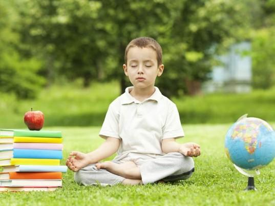 Symbols of longevity: apple, books, meditation, nature.