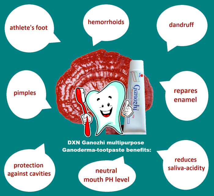 Toothpaste with Ganoderma can be used internally and on the skin as well.