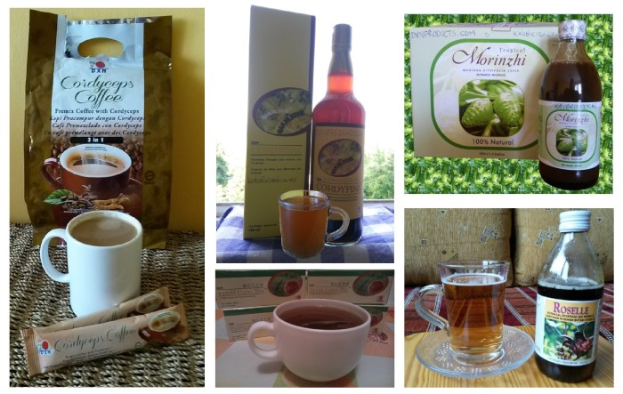 Ganoderma healthy coffee, Reishi tea, Noni and Roselle juice and fermented pineapple juice with cordyceps