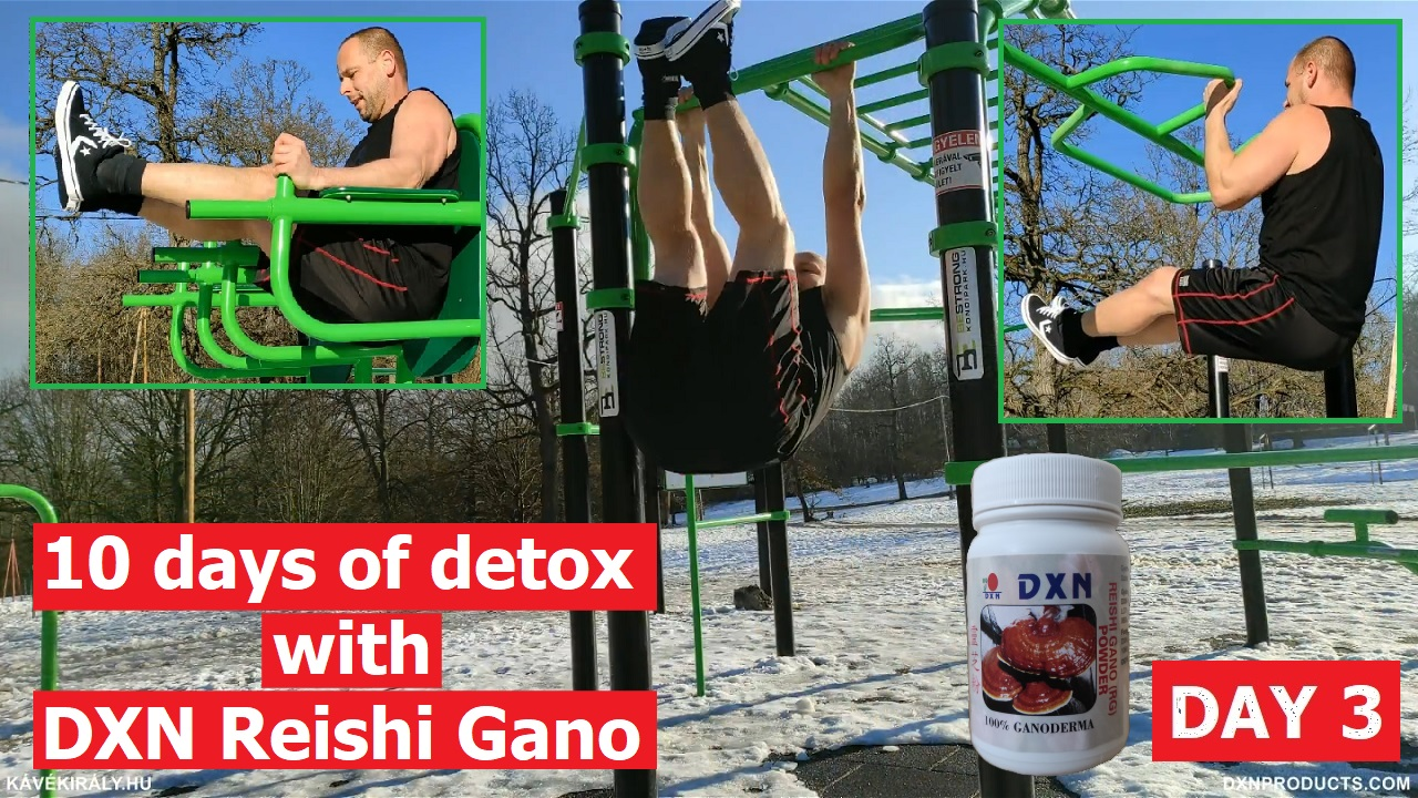 Training at an outdoor gym followed by Ganoderma Megadose