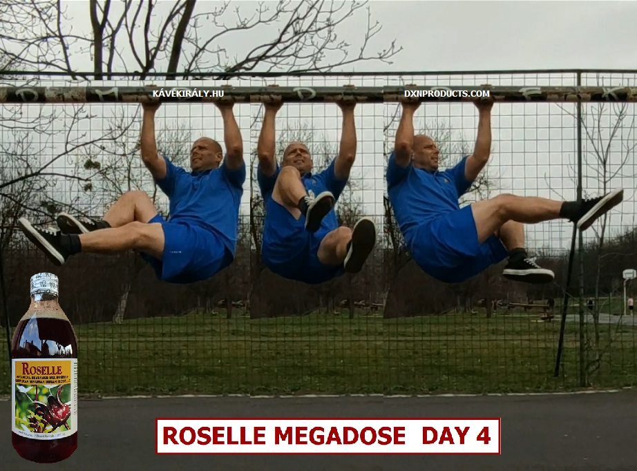 Bicycle hanging leg raises on a football goal before drinking my DXN Roselle Juice Megadose