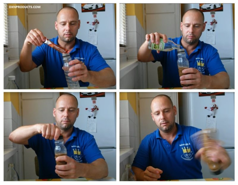 Making DXN coffee with cold water, the first 4 steps